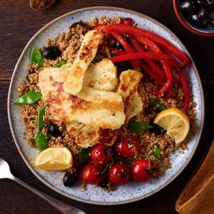 Halloumi with Spiced Cous Cous